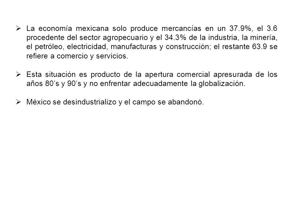 La economía mexicana solo produce mercancías en un 37.9%, el 3.6 procedente del sector agropecuario y el 34.3% de la industria, la minería, el petróleo, electricidad, manufacturas y construcción; el restante 63.9 se refiere a comercio y servicios.