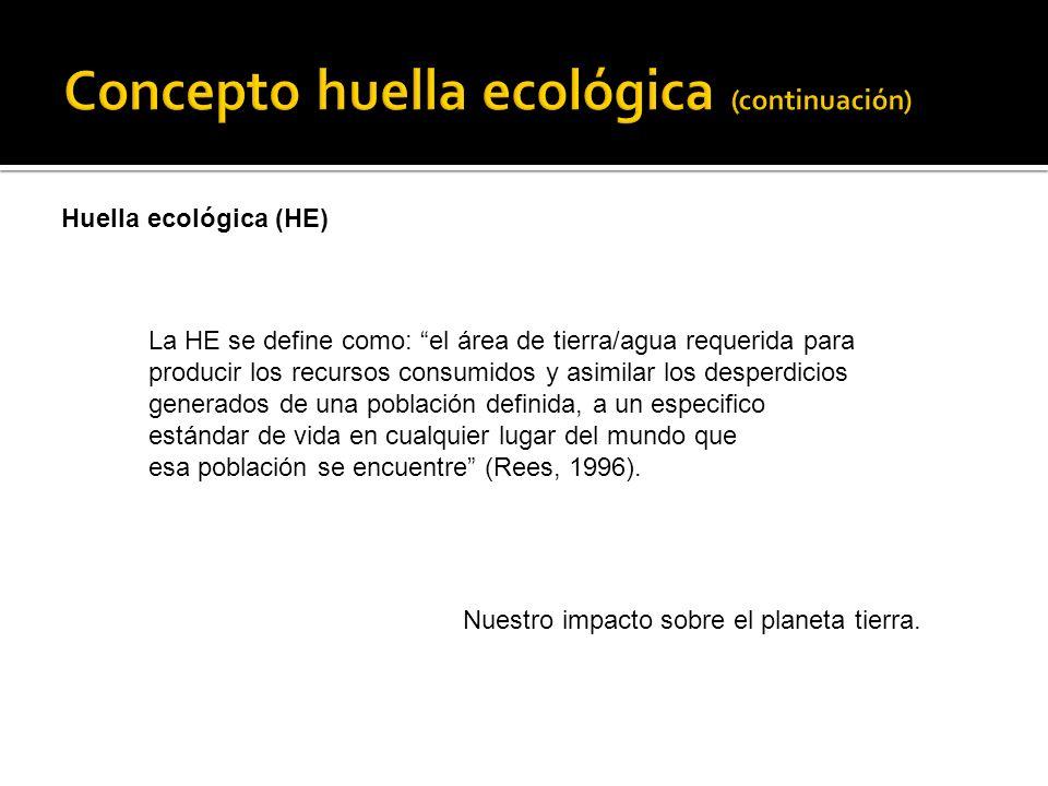 Huella ecológica (HE) La HE se define como: el área de tierra/agua requerida para producir los recursos consumidos y asimilar los desperdicios generados de una población definida, a un especifico estándar de vida en cualquier lugar del mundo que esa población se encuentre (Rees, 1996).