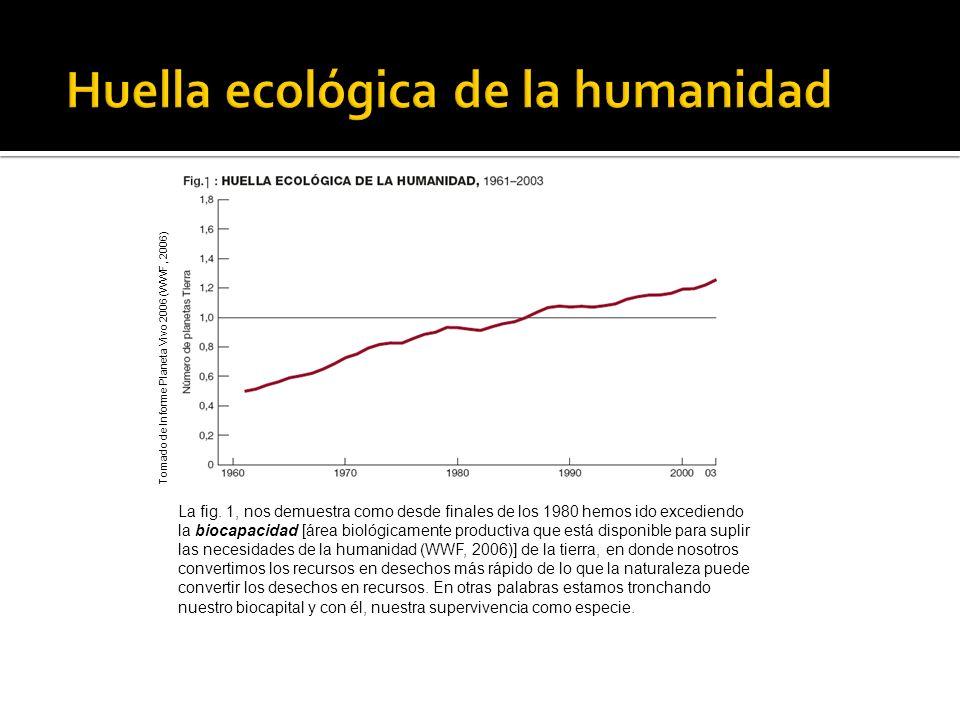 La fig. 1, nos demuestra como desde finales de los 1980 hemos ido excediendo la biocapacidad [área biológicamente productiva que está disponible para