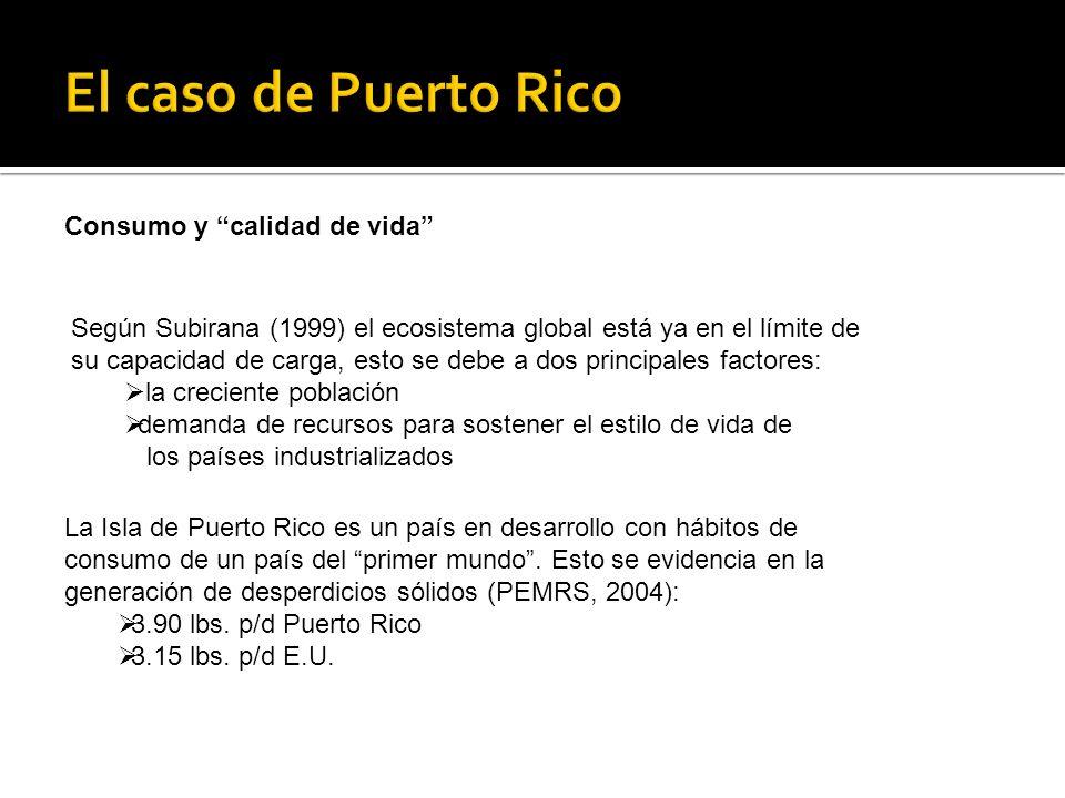 Según Subirana (1999) el ecosistema global está ya en el límite de su capacidad de carga, esto se debe a dos principales factores: la creciente población demanda de recursos para sostener el estilo de vida de los países industrializados La Isla de Puerto Rico es un país en desarrollo con hábitos de consumo de un país del primer mundo.