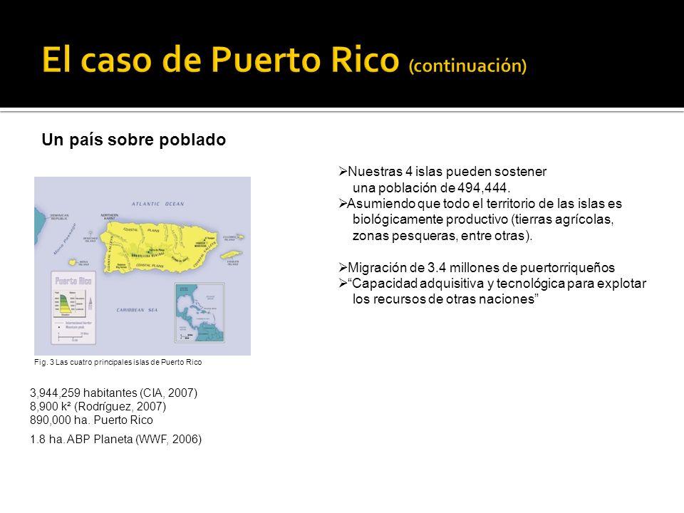 Un país sobre poblado 3,944,259 habitantes (CIA, 2007) 8,900 k² (Rodríguez, 2007) 890,000 ha. Puerto Rico 1.8 ha. ABP Planeta (WWF, 2006) Nuestras 4 i