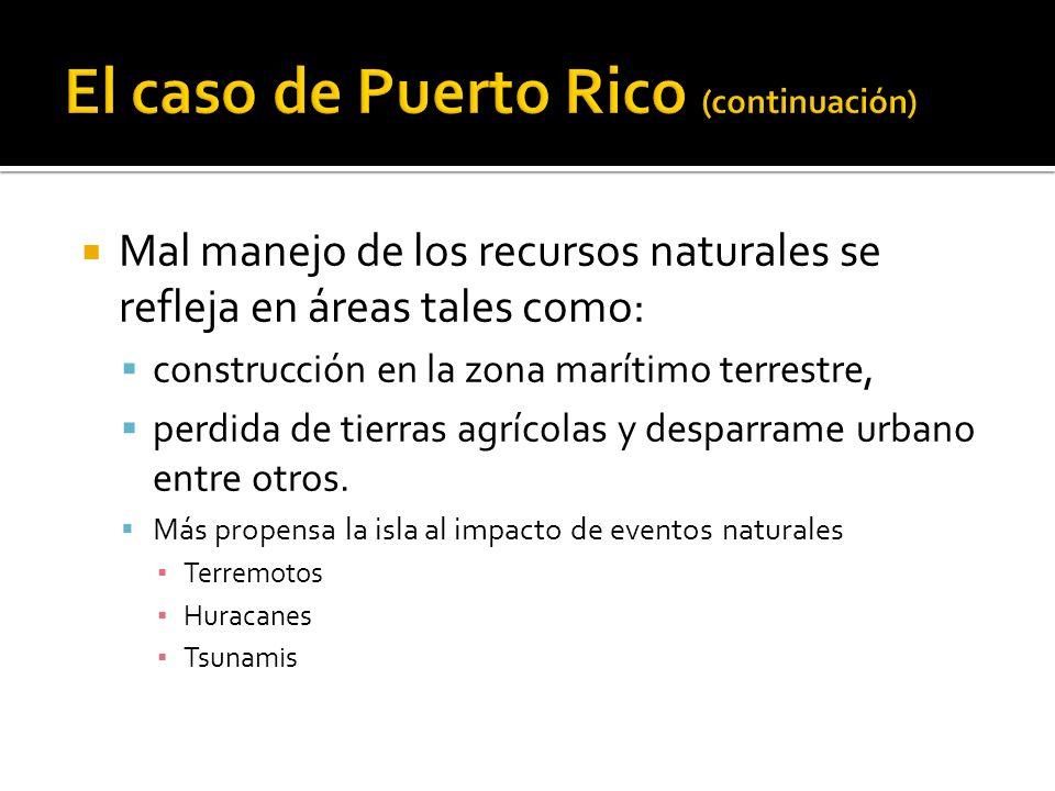 Mal manejo de los recursos naturales se refleja en áreas tales como: construcción en la zona marítimo terrestre, perdida de tierras agrícolas y desparrame urbano entre otros.