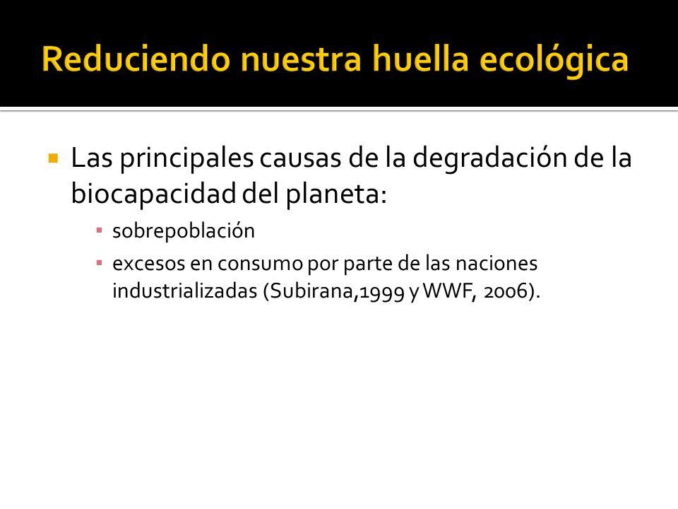 Las principales causas de la degradación de la biocapacidad del planeta: sobrepoblación excesos en consumo por parte de las naciones industrializadas