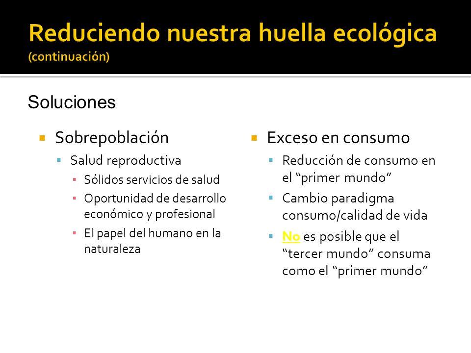 Sobrepoblación Salud reproductiva Sólidos servicios de salud Oportunidad de desarrollo económico y profesional El papel del humano en la naturaleza Ex