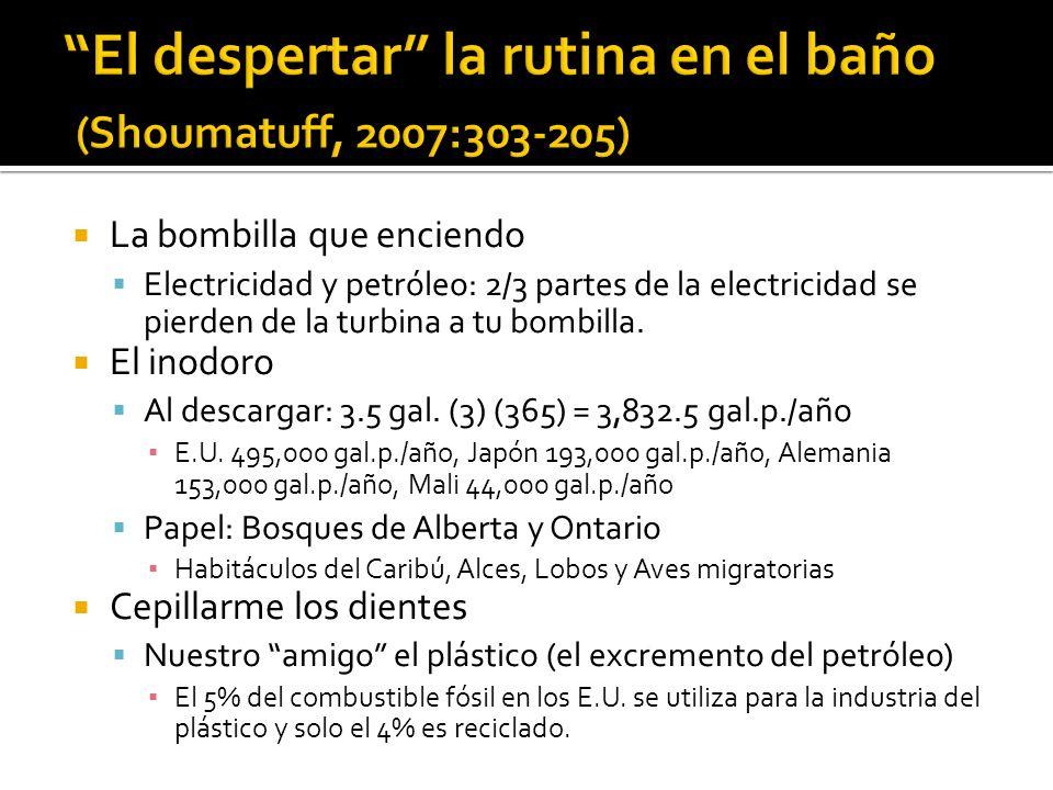 La bombilla que enciendo Electricidad y petróleo: 2/3 partes de la electricidad se pierden de la turbina a tu bombilla. El inodoro Al descargar: 3.5 g