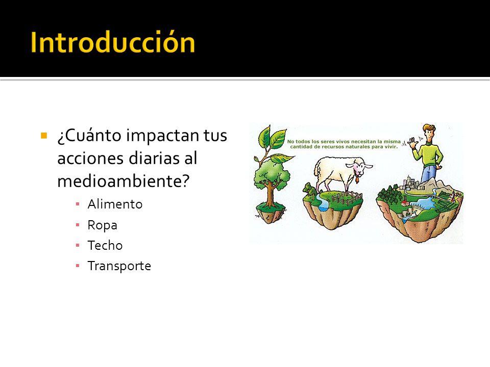 ¿Cuánto impactan tus acciones diarias al medioambiente? Alimento Ropa Techo Transporte