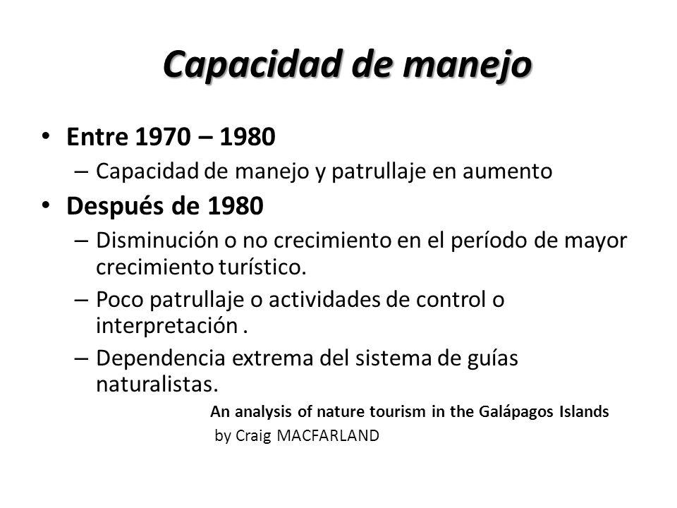 Capacidad de manejo Entre 1970 – 1980 – Capacidad de manejo y patrullaje en aumento Después de 1980 – Disminución o no crecimiento en el período de mayor crecimiento turístico.