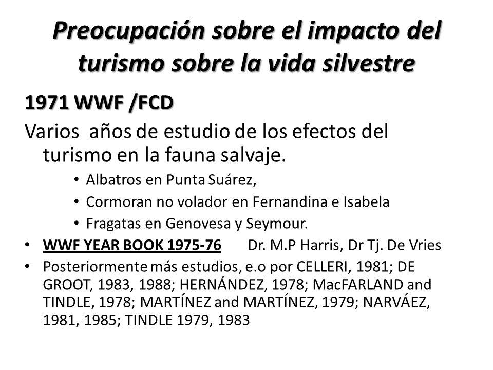 Preocupación sobre el impacto del turismo sobre la vida silvestre 1971 WWF /FCD Varios años de estudio de los efectos del turismo en la fauna salvaje.