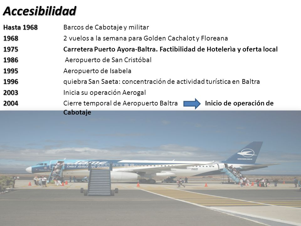 Accesibilidad Hasta 1968 Hasta 1968 Barcos de Cabotaje y militar 1968 1968 2 vuelos a la semana para Golden Cachalot y Floreana 1975 1975 Carretera Puerto Ayora-Baltra.