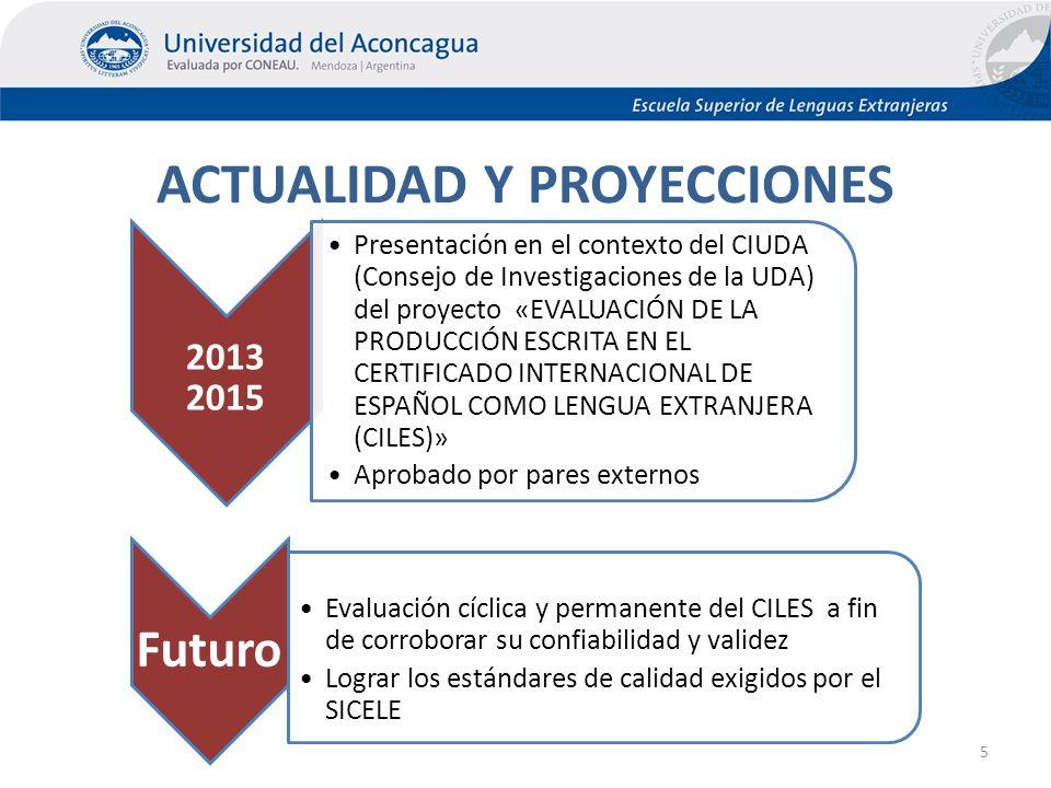 ACTUALIDAD Y PROYECCIONES 5 2013 2015 Presentación en el contexto del CIUDA (Consejo de Investigaciones de la UDA) del proyecto «EVALUACIÓN DE LA PRODUCCIÓN ESCRITA EN EL CERTIFICADO INTERNACIONAL DE ESPAÑOL COMO LENGUA EXTRANJERA (CILES)» Aprobado por pares externos Futuro Evaluación cíclica y permanente del CILES a fin de corroborar su confiabilidad y validez Lograr los estándares de calidad exigidos por el SICELE