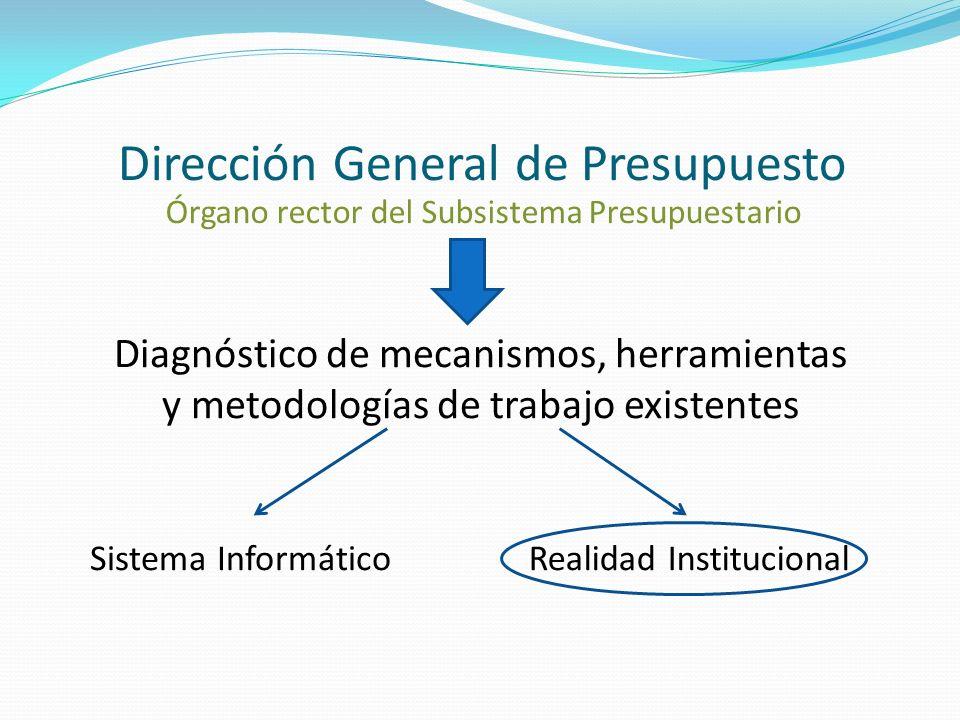 Dirección General de Presupuesto Órgano rector del Subsistema Presupuestario Diagnóstico de mecanismos, herramientas y metodologías de trabajo existentes Sistema InformáticoRealidad Institucional