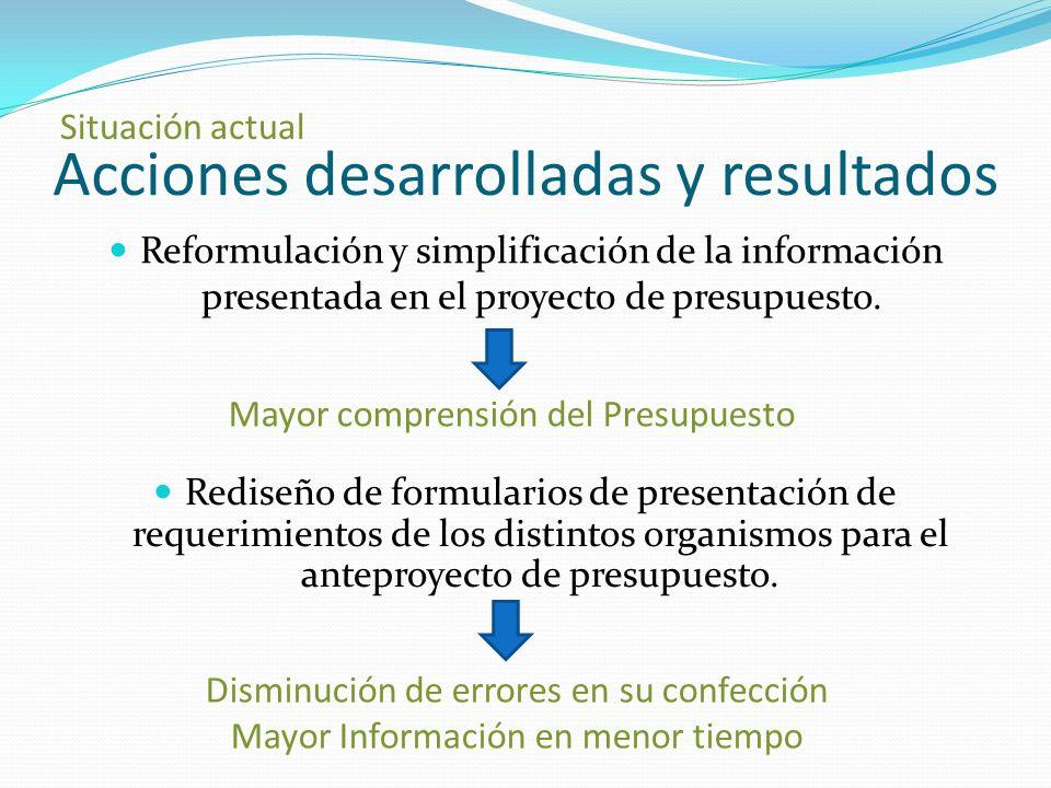 Acciones desarrolladas y resultados Reformulación y simplificación de la información presentada en el proyecto de presupuesto.