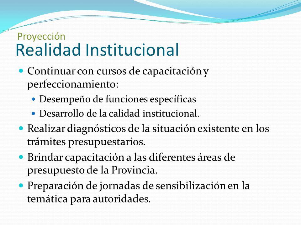 Realidad Institucional Continuar con cursos de capacitación y perfeccionamiento: Desempeño de funciones específicas Desarrollo de la calidad institucional.