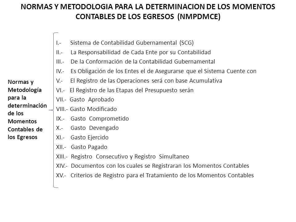 NORMAS Y METODOLOGIA PARA LA DETERMINACION DE LOS MOMENTOS CONTABLES DE LOS EGRESOS (NMPDMCE) I.- Sistema de Contabilidad Gubernamental (SCG) II.- La