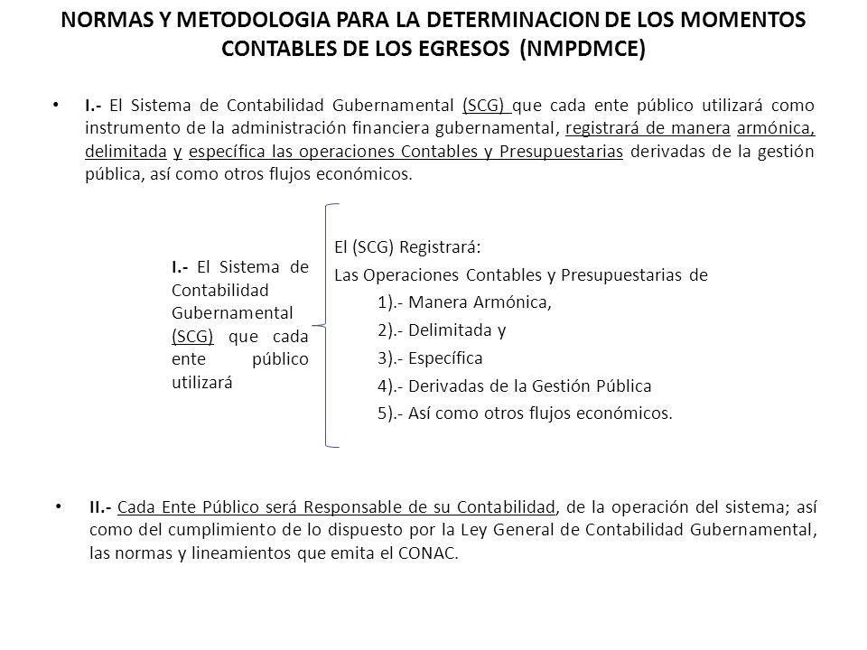 NORMAS Y METODOLOGIA PARA LA DETERMINACION DE LOS MOMENTOS CONTABLES DE LOS EGRESOS (NMPDMCE) I.- El Sistema de Contabilidad Gubernamental (SCG) que c