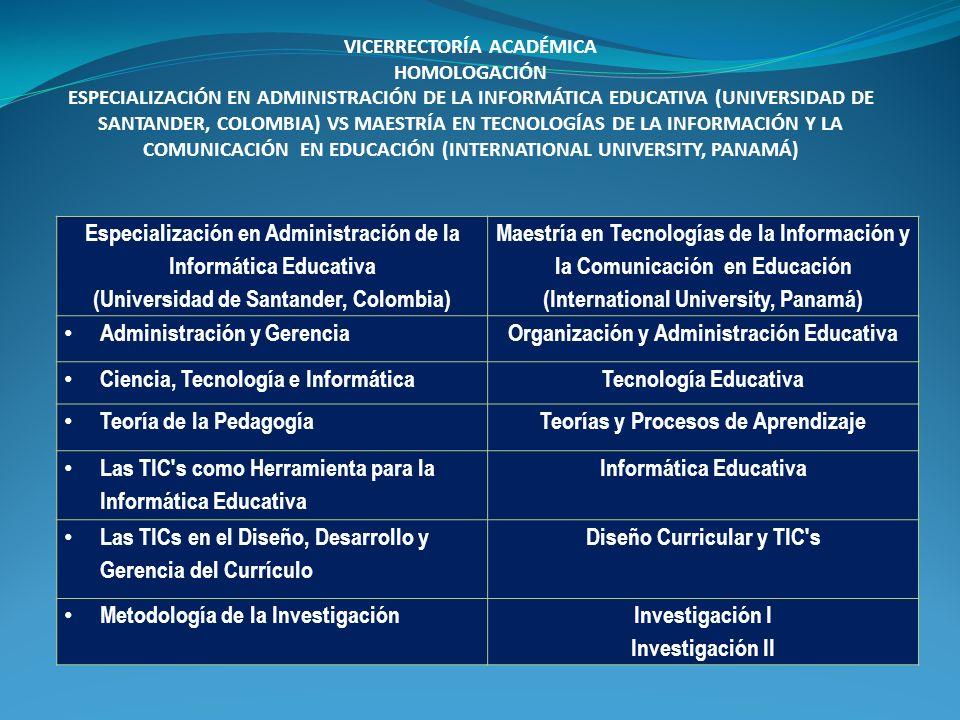 Especialización en Administración de la Informática Educativa (Universidad de Santander, Colombia) Maestría en Tecnologías de la Información y la Comu