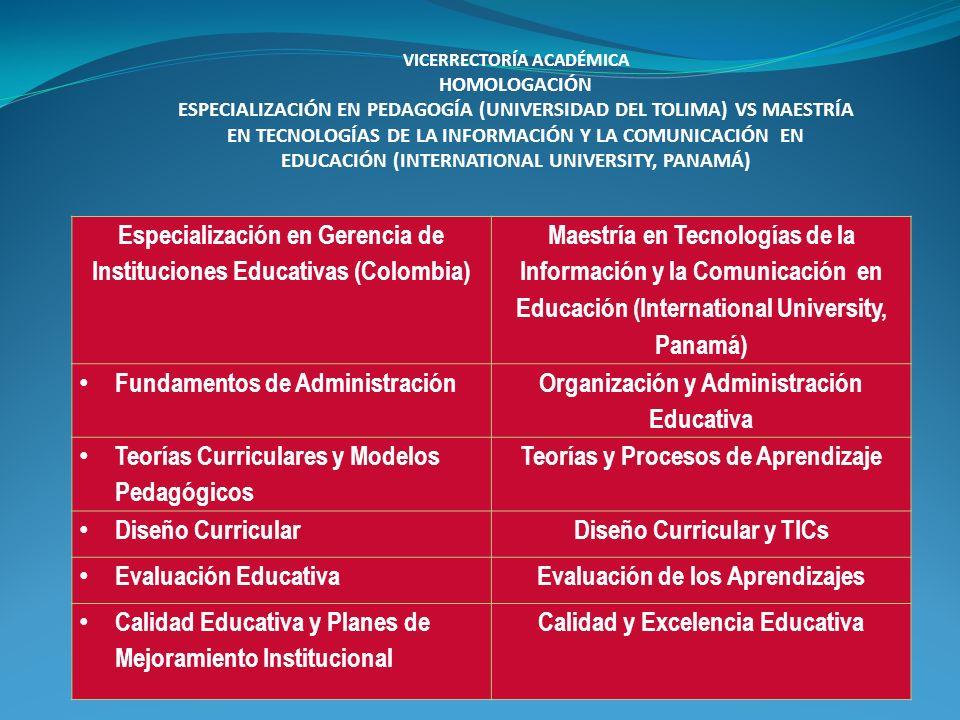 Especialización en Gerencia de Instituciones Educativas (Colombia) Maestría en Tecnologías de la Información y la Comunicación en Educación (Internati
