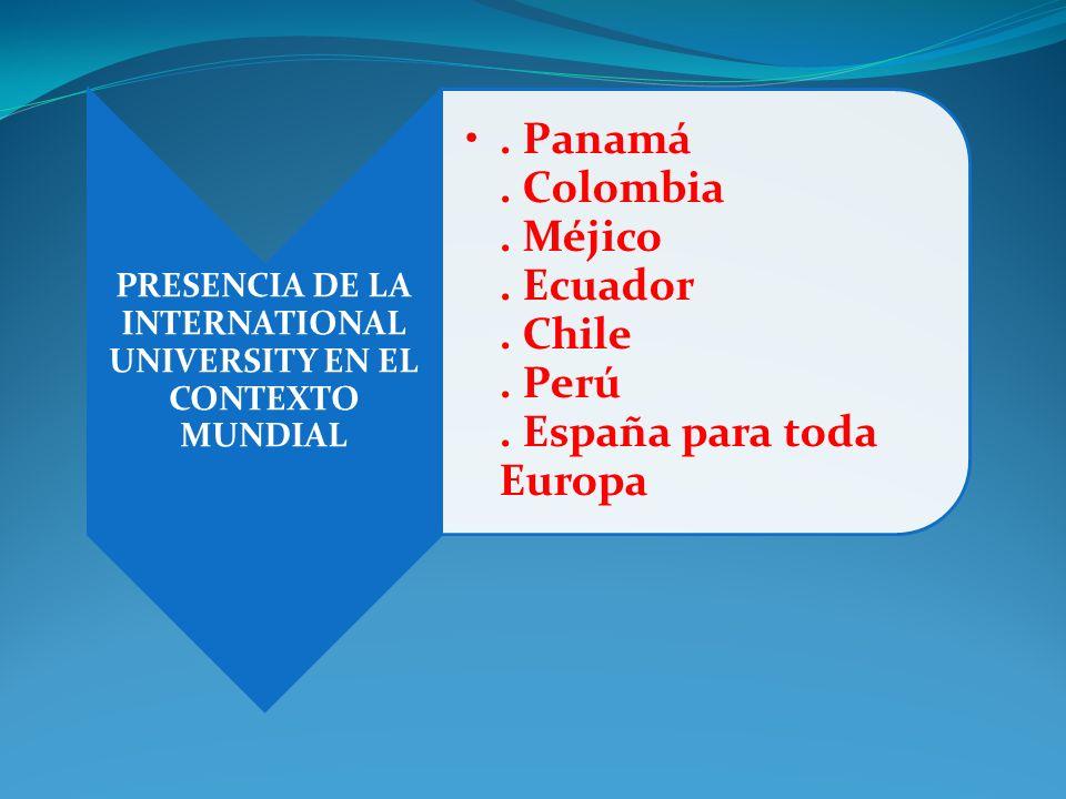 PRESENCIA DE LA INTERNATIONAL UNIVERSITY EN EL CONTEXTO MUNDIAL. Panamá. Colombia. Méjico. Ecuador. Chile. Perú. España para toda Europa
