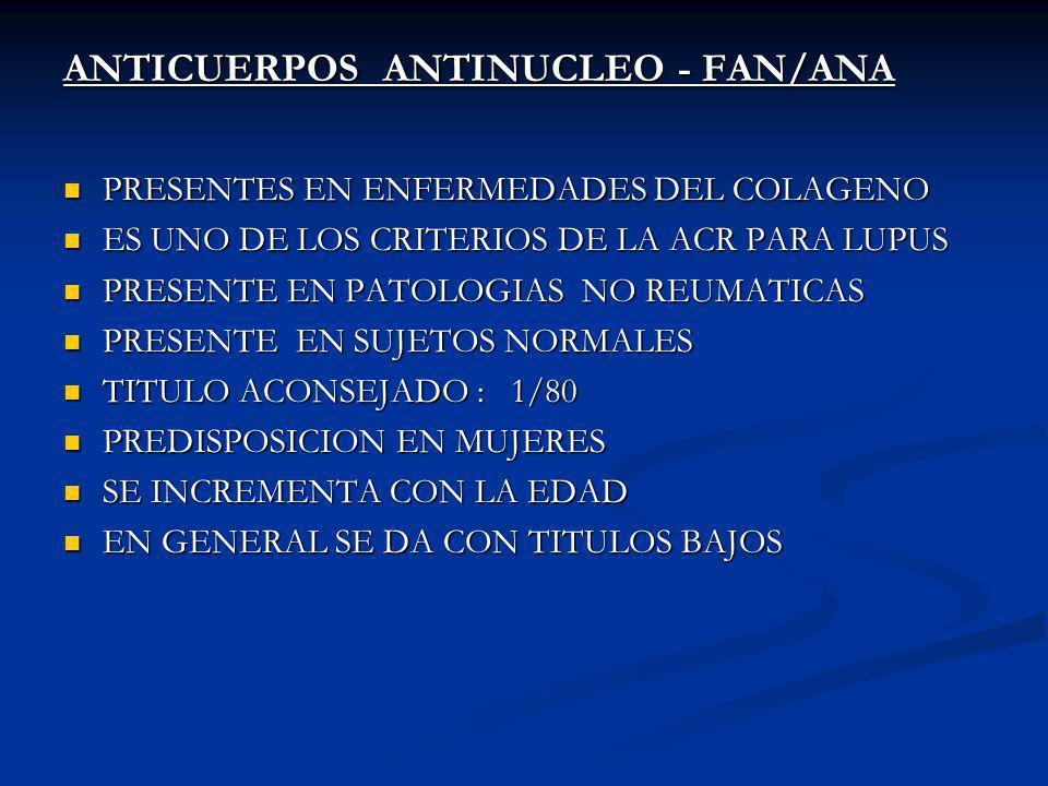 ANTICUERPOS ANTINUCLEO - FAN/ANA PRESENTES EN ENFERMEDADES DEL COLAGENO PRESENTES EN ENFERMEDADES DEL COLAGENO ES UNO DE LOS CRITERIOS DE LA ACR PARA LUPUS ES UNO DE LOS CRITERIOS DE LA ACR PARA LUPUS PRESENTE EN PATOLOGIAS NO REUMATICAS PRESENTE EN PATOLOGIAS NO REUMATICAS PRESENTE EN SUJETOS NORMALES PRESENTE EN SUJETOS NORMALES TITULO ACONSEJADO : 1/80 TITULO ACONSEJADO : 1/80 PREDISPOSICION EN MUJERES PREDISPOSICION EN MUJERES SE INCREMENTA CON LA EDAD SE INCREMENTA CON LA EDAD EN GENERAL SE DA CON TITULOS BAJOS EN GENERAL SE DA CON TITULOS BAJOS