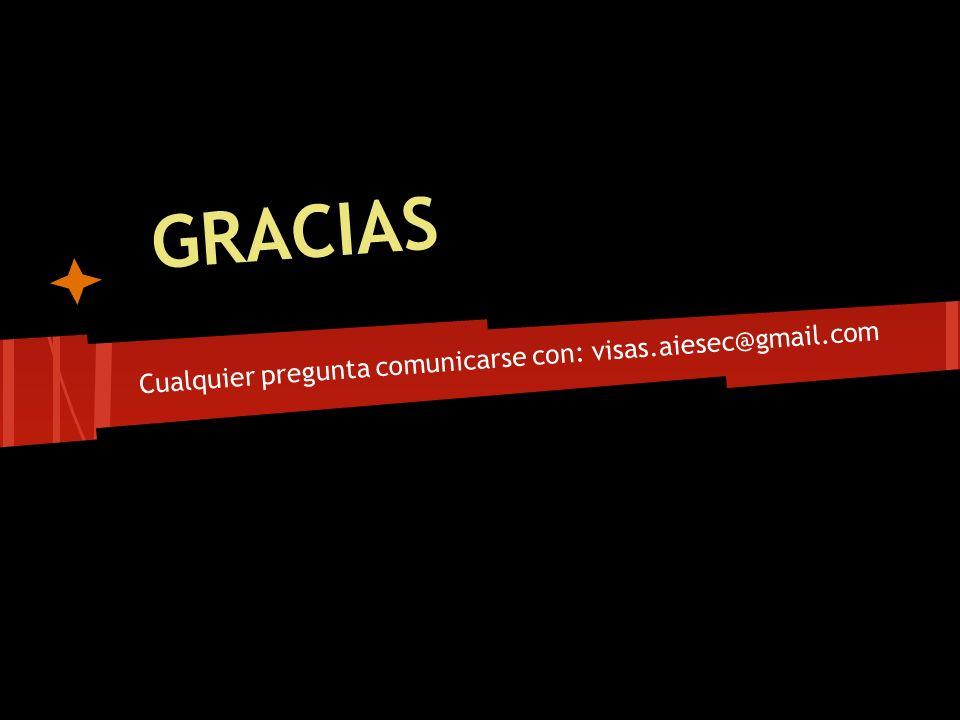 Cualquier pregunta comunicarse con: visas.aiesec@gmail.com GRACIAS