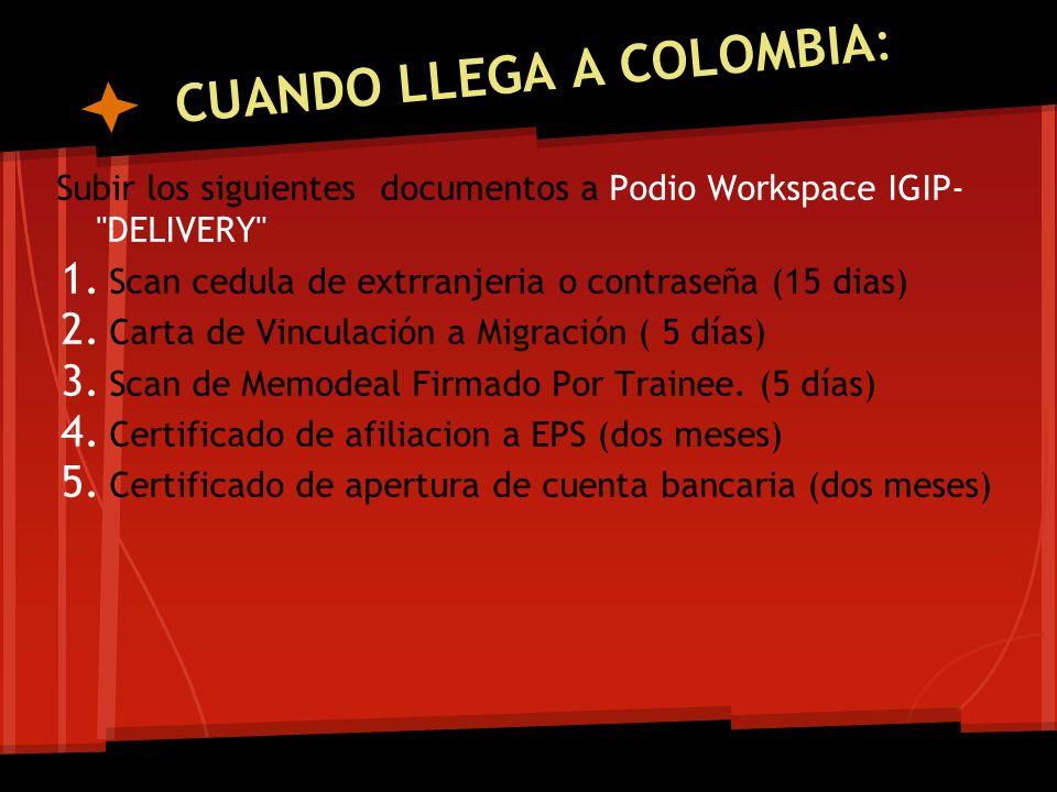 CUANDO LLEGA A COLOMBIA: Subir los siguientes documentos a Podio Workspace IGIP-
