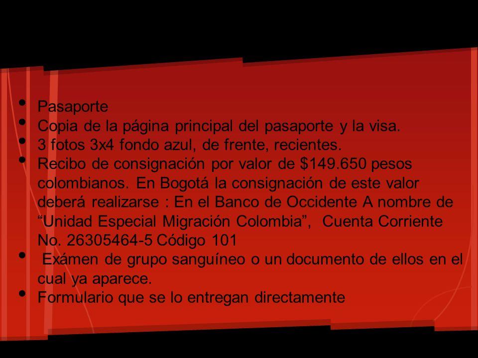 Pasaporte Copia de la página principal del pasaporte y la visa. 3 fotos 3x4 fondo azul, de frente, recientes. Recibo de consignación por valor de $149
