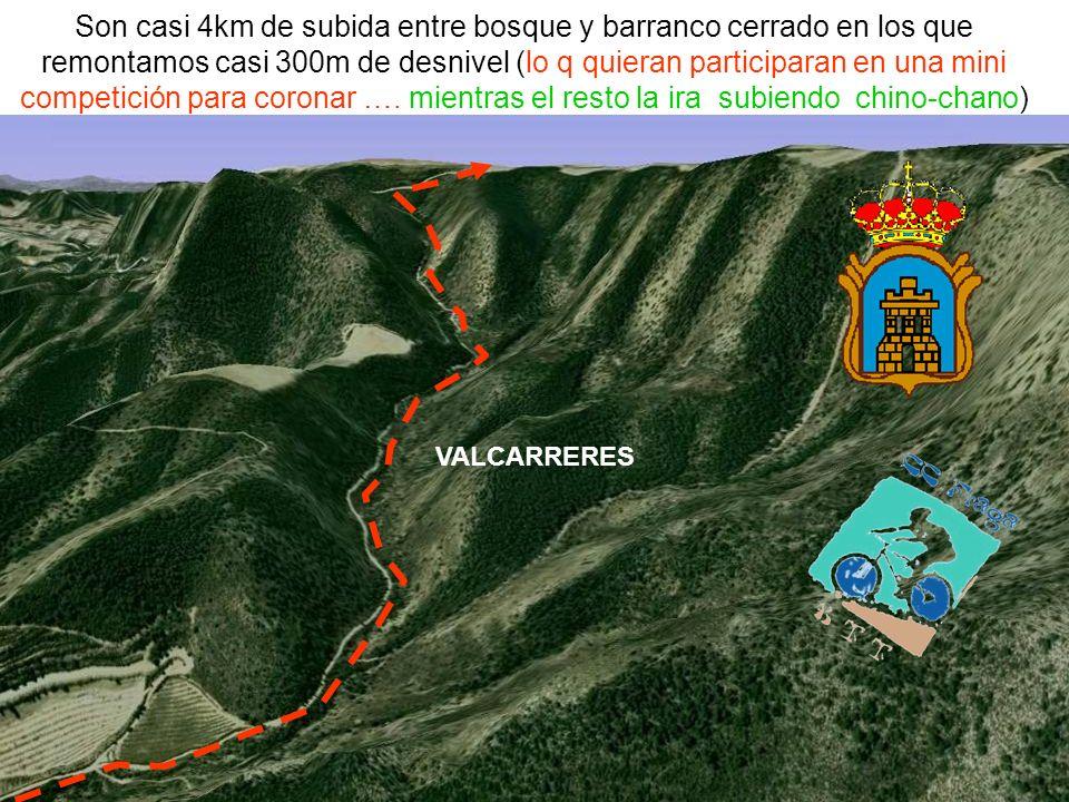Son casi 4km de subida entre bosque y barranco cerrado en los que remontamos casi 300m de desnivel (lo q quieran participaran en una mini competición para coronar ….