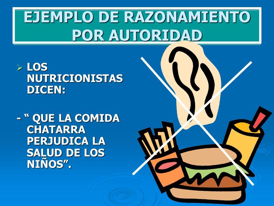 EJEMPLO DE RAZONAMIENTO POR AUTORIDAD LOS NUTRICIONISTAS DICEN: LOS NUTRICIONISTAS DICEN: - QUE LA COMIDA CHATARRA PERJUDICA LA SALUD DE LOS NIÑOS.