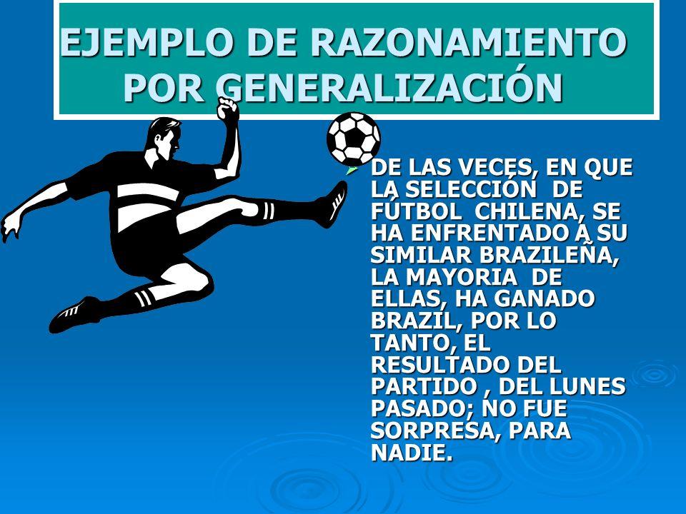 EJEMPLO DE RAZONAMIENTO POR GENERALIZACIÓN DE LAS VECES, EN QUE LA SELECCIÓN DE FÚTBOL CHILENA, SE HA ENFRENTADO A SU SIMILAR BRAZILEÑA, LA MAYORIA DE