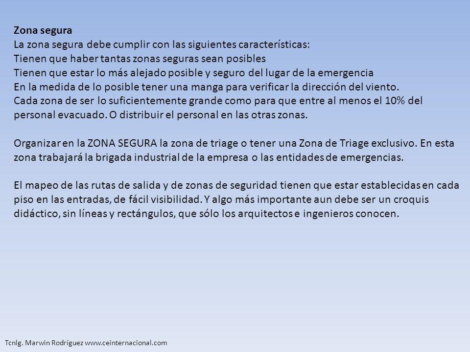 Tcnlg. Marwin Rodríguez www.ceinternacional.com Zona segura La zona segura debe cumplir con las siguientes características: Tienen que haber tantas zo