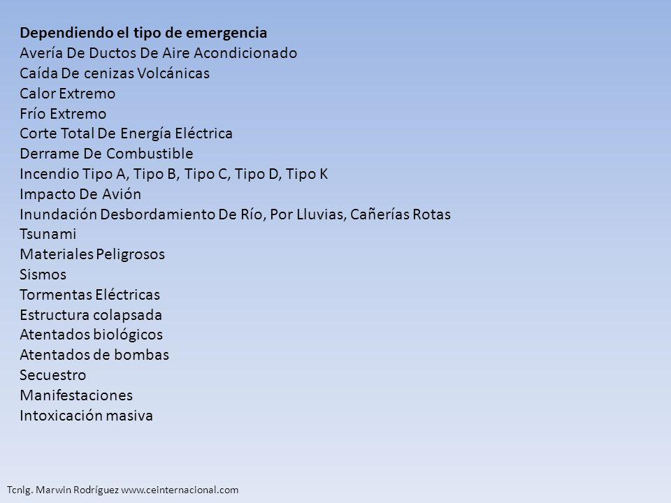 Tcnlg. Marwin Rodríguez www.ceinternacional.com Dependiendo el tipo de emergencia Avería De Ductos De Aire Acondicionado Caída De cenizas Volcánicas C
