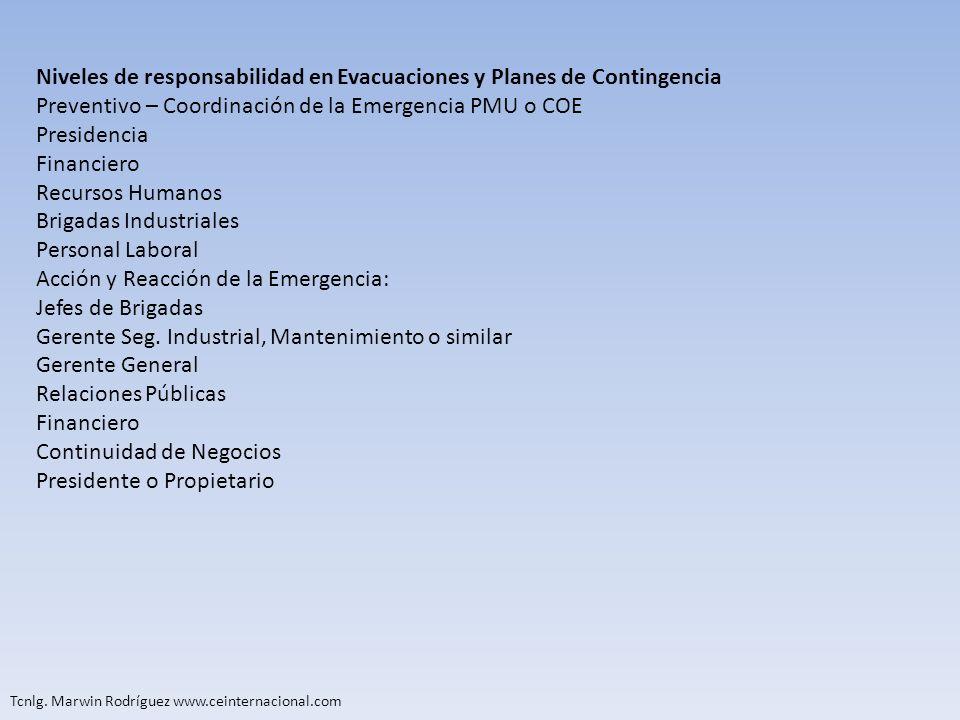 Tcnlg. Marwin Rodríguez www.ceinternacional.com Niveles de responsabilidad en Evacuaciones y Planes de Contingencia Preventivo – Coordinación de la Em