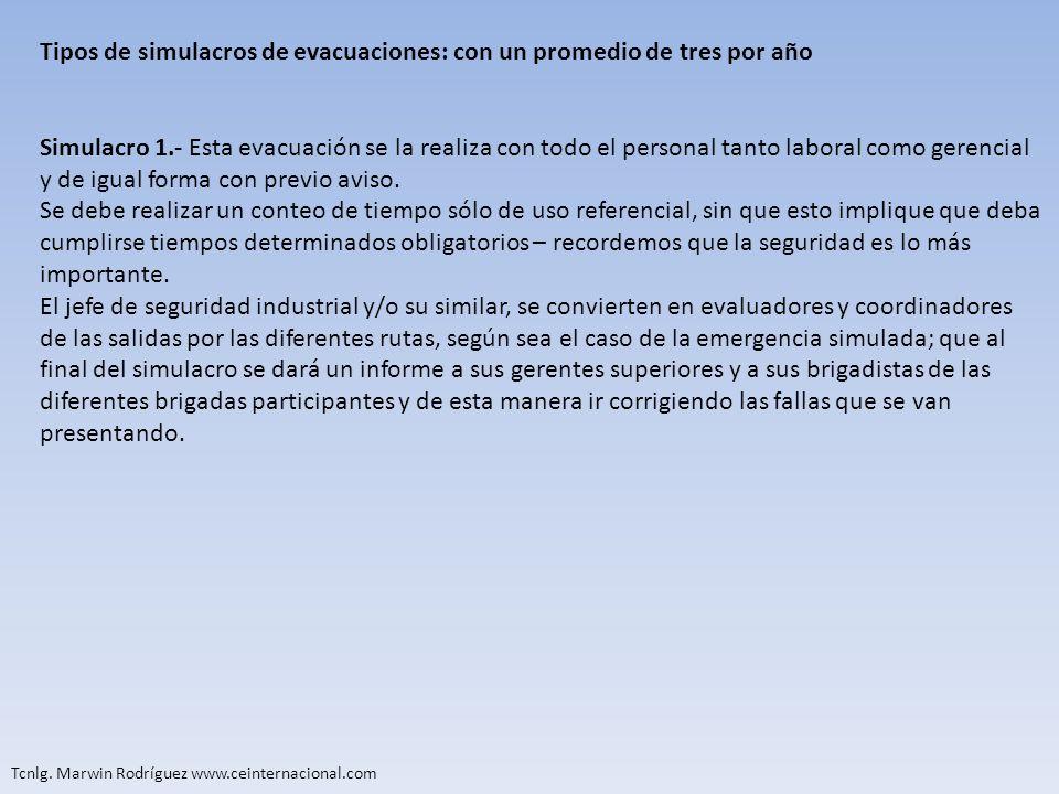 Tcnlg. Marwin Rodríguez www.ceinternacional.com Tipos de simulacros de evacuaciones: con un promedio de tres por año Simulacro 1.- Esta evacuación se