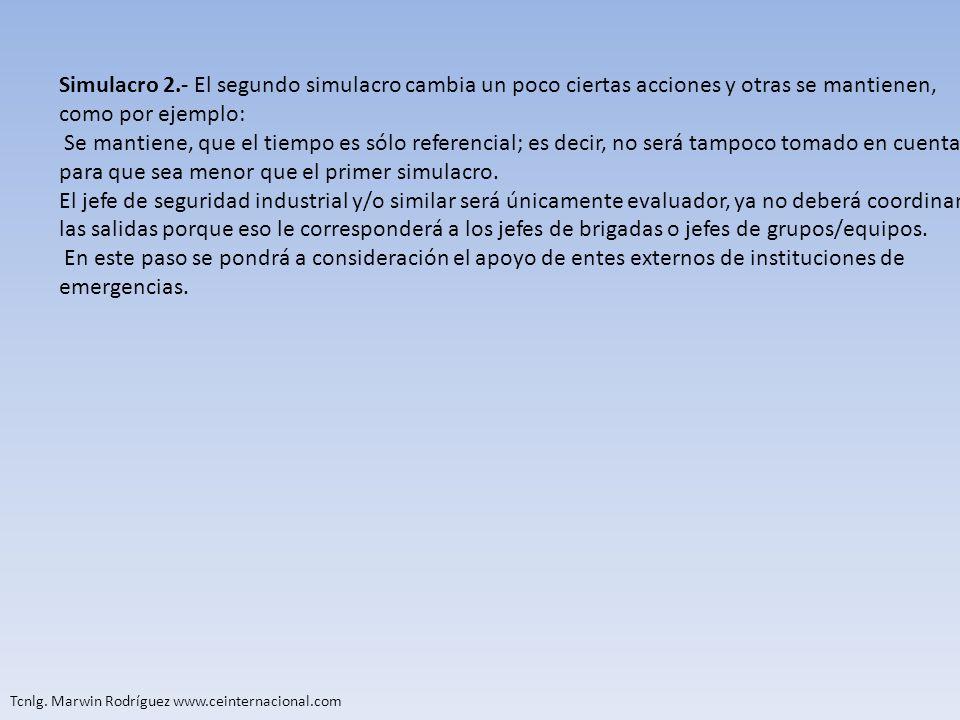 Tcnlg. Marwin Rodríguez www.ceinternacional.com Simulacro 2.- El segundo simulacro cambia un poco ciertas acciones y otras se mantienen, como por ejem