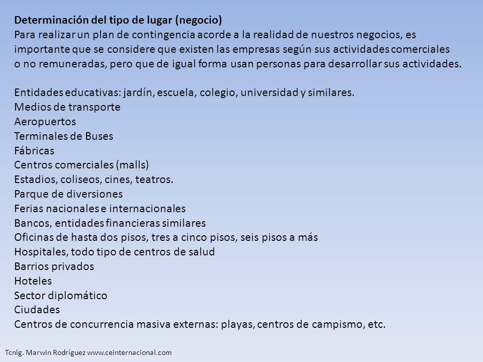 Tcnlg. Marwin Rodríguez www.ceinternacional.com Determinación del tipo de lugar (negocio) Para realizar un plan de contingencia acorde a la realidad d