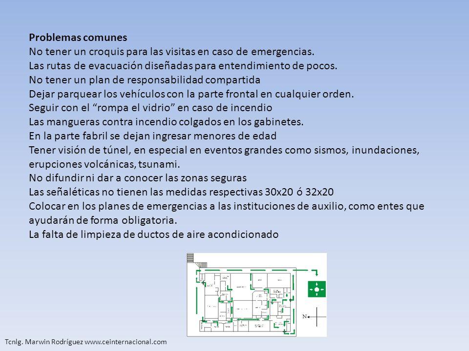 Tcnlg. Marwin Rodríguez www.ceinternacional.com Problemas comunes No tener un croquis para las visitas en caso de emergencias. Las rutas de evacuación