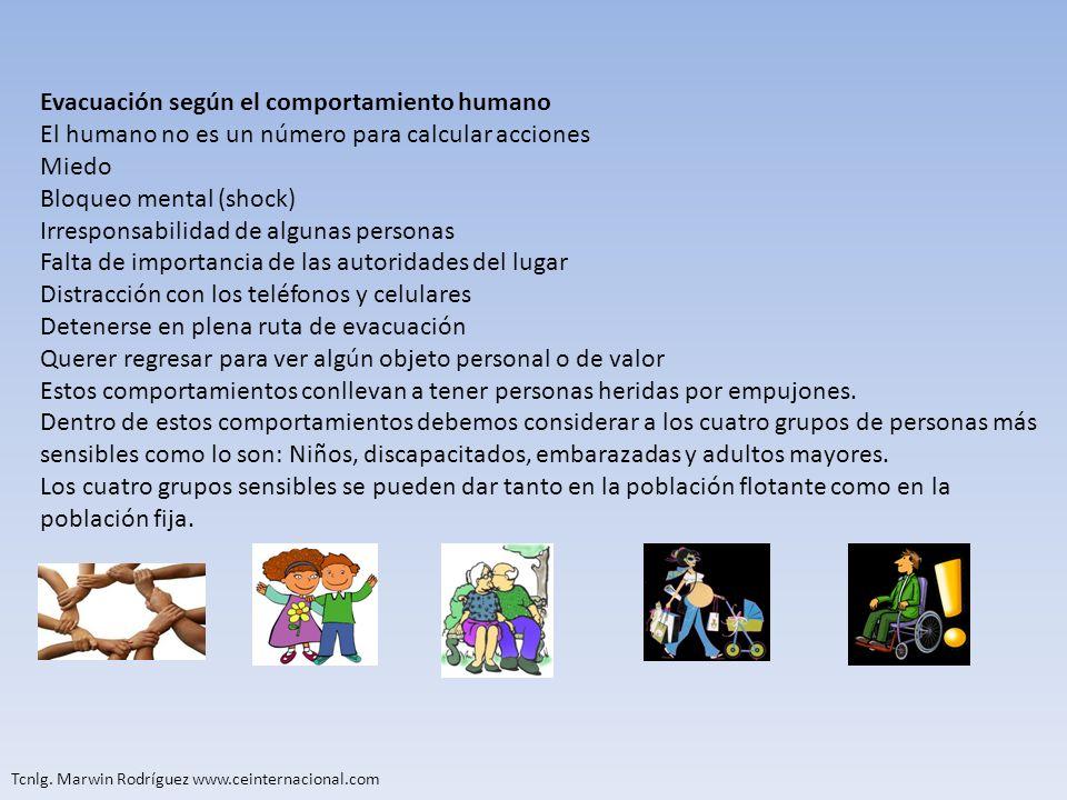 Tcnlg. Marwin Rodríguez www.ceinternacional.com Evacuación según el comportamiento humano El humano no es un número para calcular acciones Miedo Bloqu