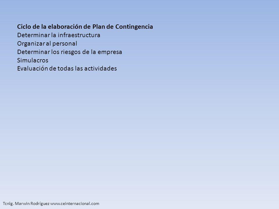 Tcnlg. Marwin Rodríguez www.ceinternacional.com Ciclo de la elaboración de Plan de Contingencia Determinar la infraestructura Organizar al personal De