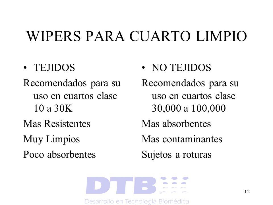 12 WIPERS PARA CUARTO LIMPIO TEJIDOS Recomendados para su uso en cuartos clase 10 a 30K Mas Resistentes Muy Limpios Poco absorbentes NO TEJIDOS Recome