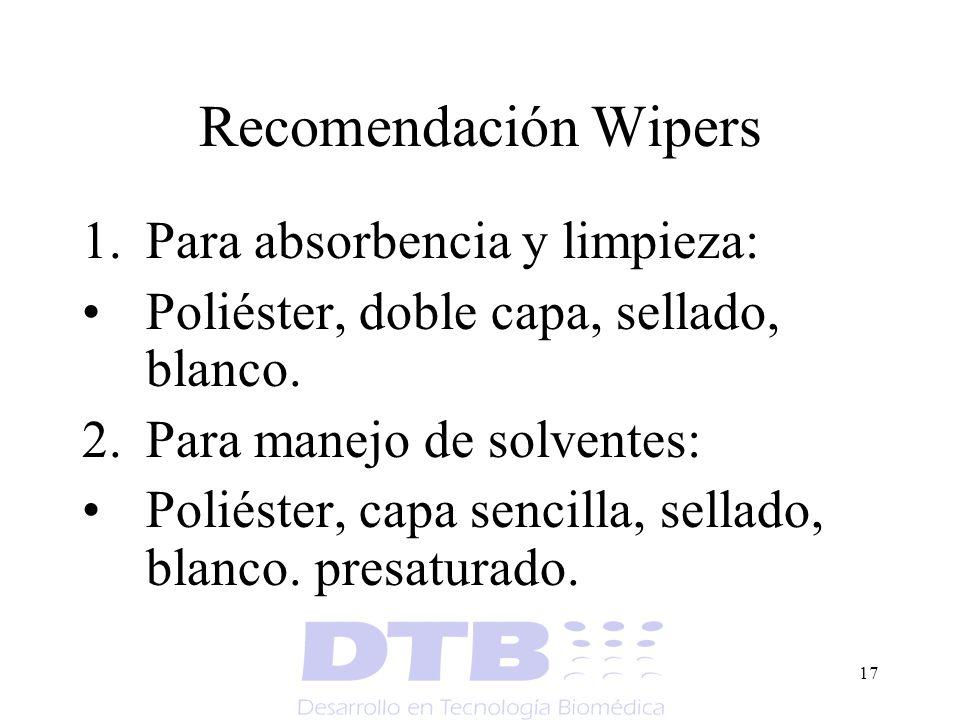 17 Recomendación Wipers 1.Para absorbencia y limpieza: Poliéster, doble capa, sellado, blanco. 2.Para manejo de solventes: Poliéster, capa sencilla, s