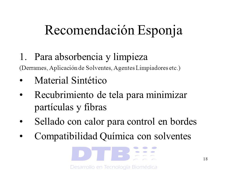 18 Recomendación Esponja 1.Para absorbencia y limpieza (Derrames, Aplicación de Solventes, Agentes Limpiadores etc.) Material Sintético Recubrimiento