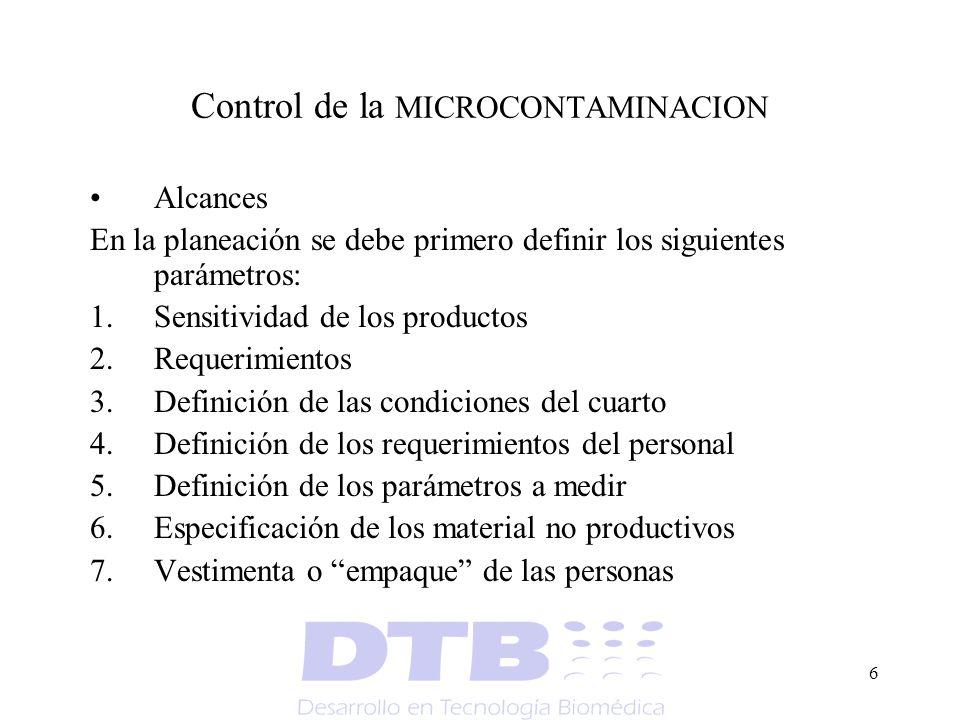 6 Control de la MICROCONTAMINACION Alcances En la planeación se debe primero definir los siguientes parámetros: 1.Sensitividad de los productos 2.Requ