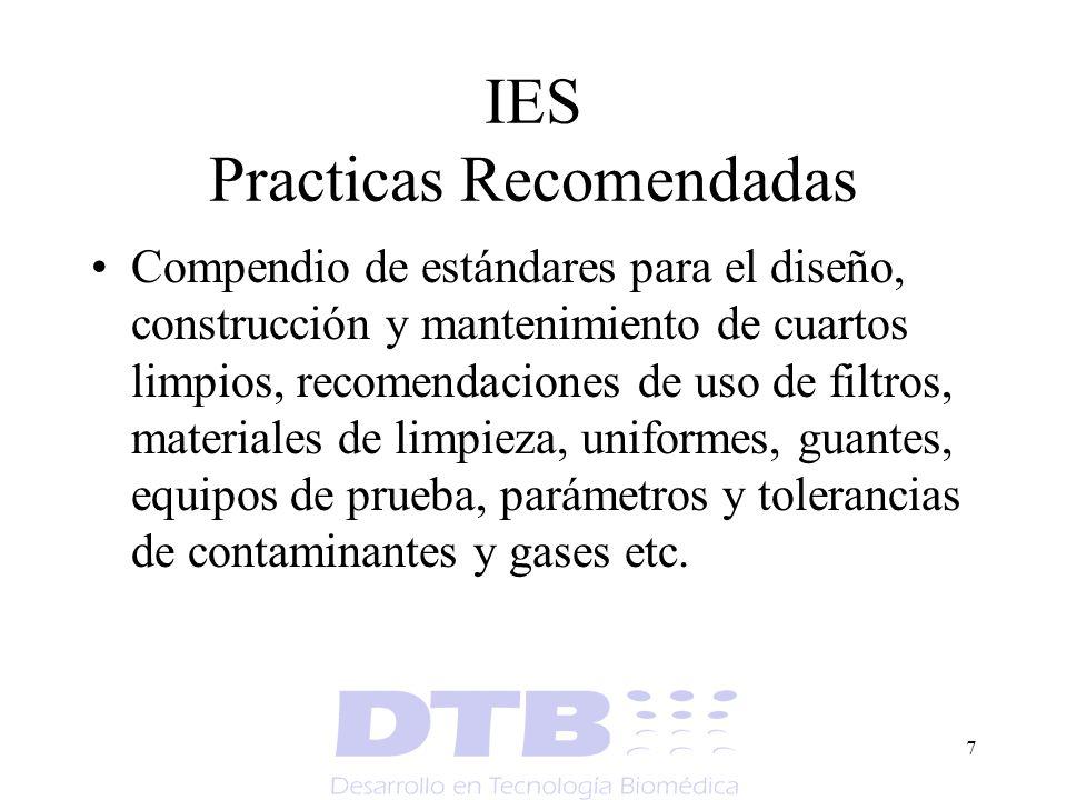7 IES Practicas Recomendadas Compendio de estándares para el diseño, construcción y mantenimiento de cuartos limpios, recomendaciones de uso de filtro
