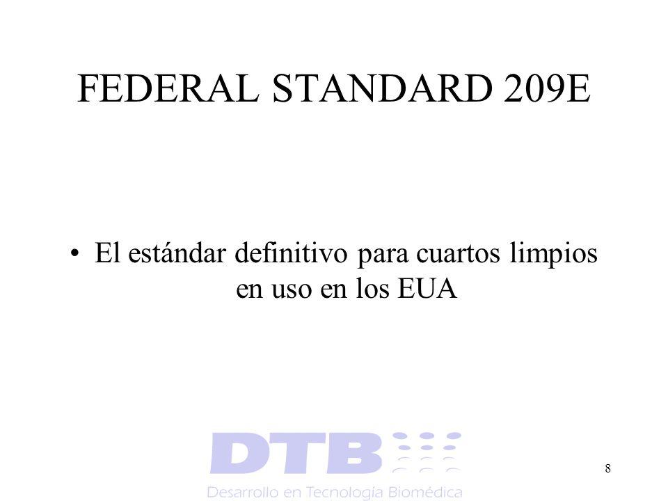 8 FEDERAL STANDARD 209E El estándar definitivo para cuartos limpios en uso en los EUA