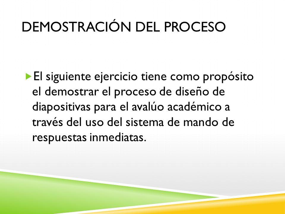 DEMOSTRACIÓN DEL PROCESO El siguiente ejercicio tiene como propósito el demostrar el proceso de diseño de diapositivas para el avalúo académico a trav