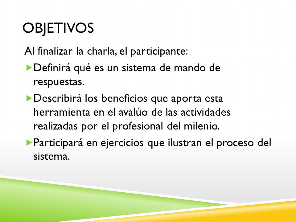 OBJETIVOS Al finalizar la charla, el participante: Definirá qué es un sistema de mando de respuestas. Describirá los beneficios que aporta esta herram