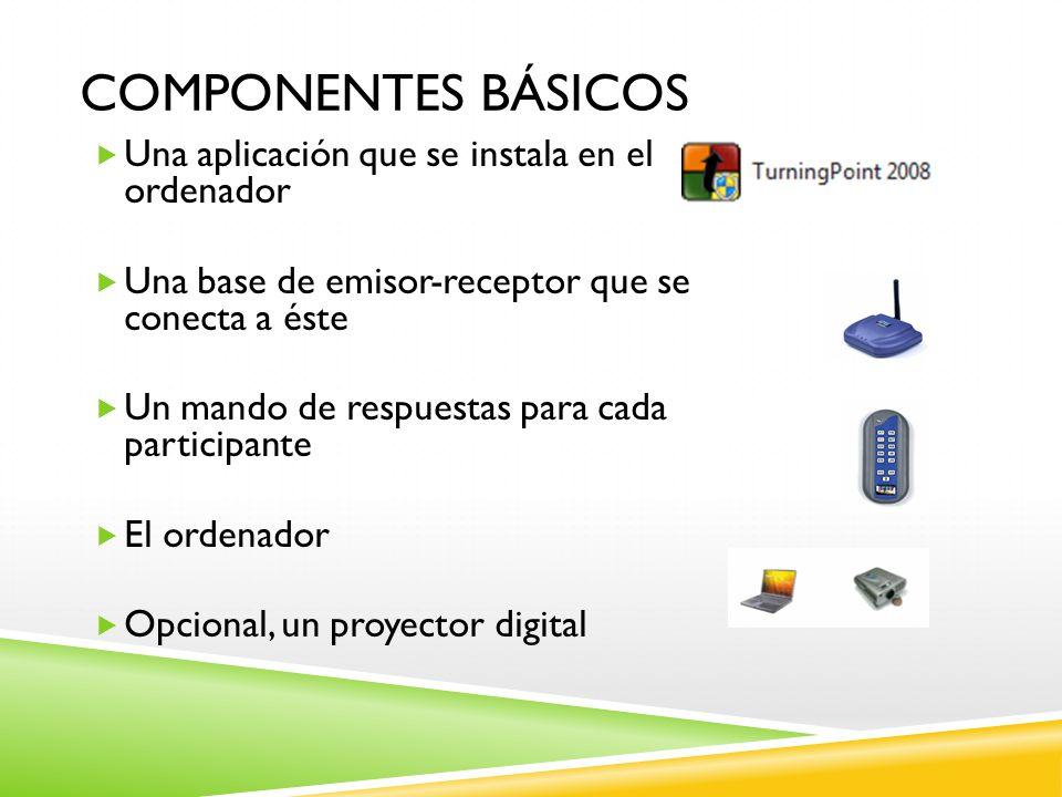 COMPONENTES BÁSICOS Una aplicación que se instala en el ordenador Una base de emisor-receptor que se conecta a éste Un mando de respuestas para cada p