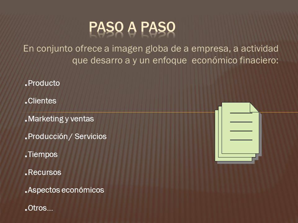 En conjunto ofrece a imagen globa de a empresa, a actividad que desarro a y un enfoque económico finaciero:. Producto. Clientes. Marketing y ventas. P