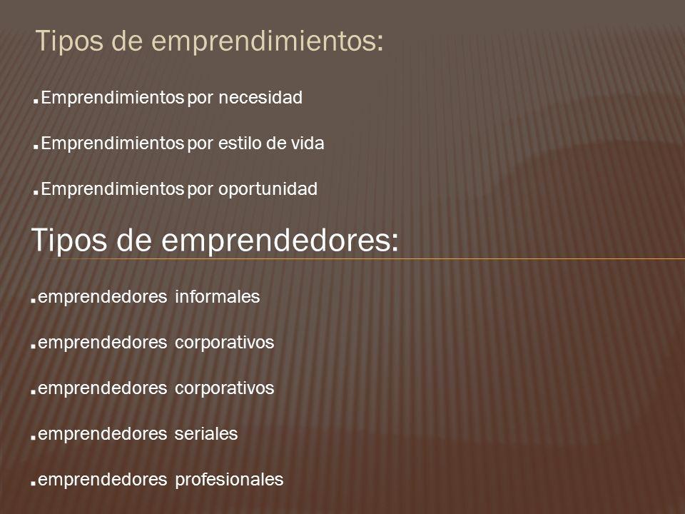Tipos de emprendimientos:. Emprendimientos por necesidad. Emprendimientos por estilo de vida. Emprendimientos por oportunidad Tipos de emprendedores:.