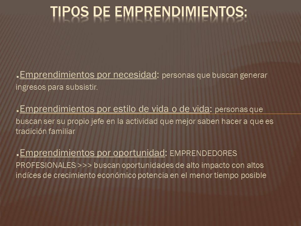 . Emprendimientos por necesidad: personas que buscan generar ingresos para subsistir.. Emprendimientos por estilo de vida o de vida: personas que busc